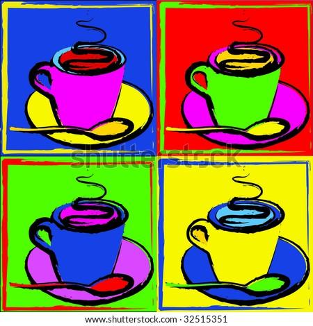 Vector of Pop Art Coffee Cups - stock vector