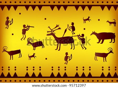 vector of primitive figures looks like cave painting - stock vector