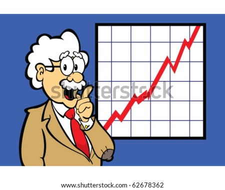 vector of professor or business person with graph trending up - stock vector