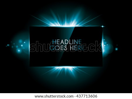 Vector of rectangular frame with luminous rays - stock vector