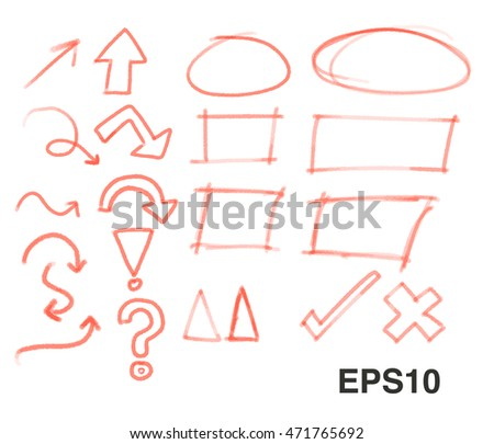 Vector of red Pencil hand draw element .