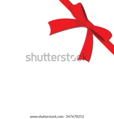 Vector of Red ribbon red on white background with copy space. Gift box - stock vector