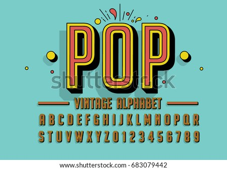 Vector of retro colorful font and alphabet