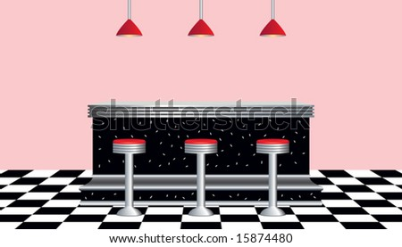Vector of retro diner 1950s style - stock vector