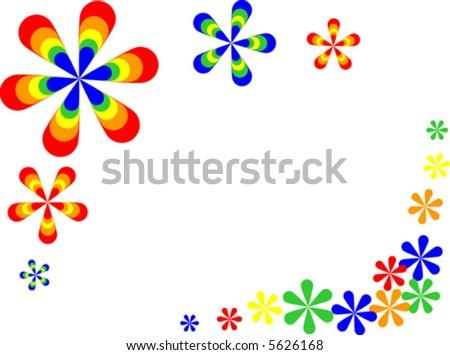 Vector of retro style flowers. - stock vector