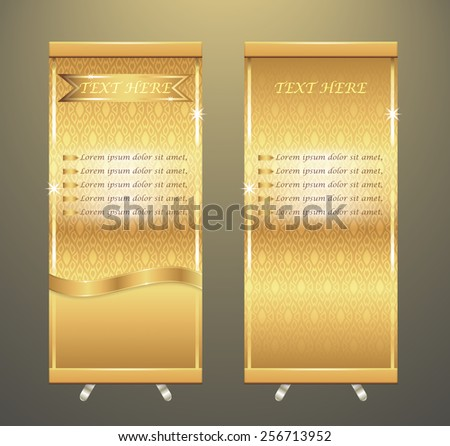 Vector of roll up banner stand, gold color with thai pattern. - stock vector