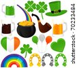 Vector of Saint Patrick's Day, cold beer, pot of gold, horseshoes. A set of cute and colorful icon collection isolated on white background - stock vector