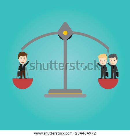 Vector of Scales balance . businessman concept - stock vector