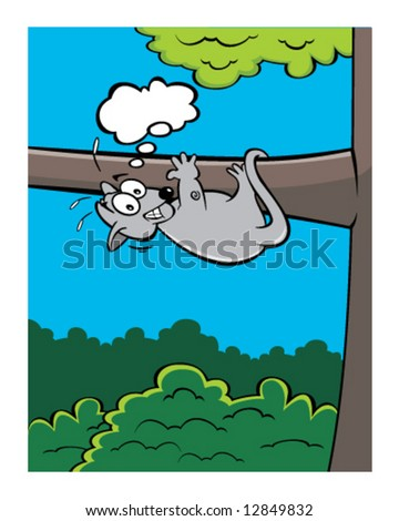 vector of scared opossum, clinging to tree with space for your text message - stock vector