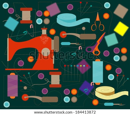 Vector of Sewing Tools - stock vector