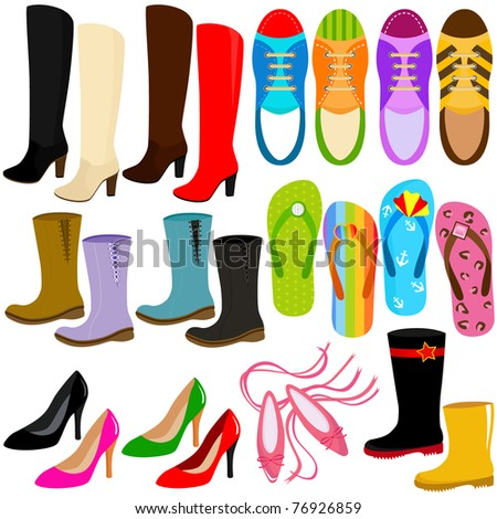 Vector of shoes, boots, high heels, sneakers, slipper. A set of cute and colorful icon collection isolated on white background