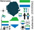 Vector of Sierra Leone set with detailed country shape with region borders, flags and icons - stock vector