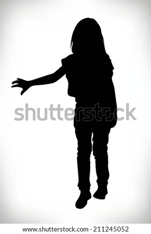 vector of silhouette of a child walking with his hand extended - stock vector