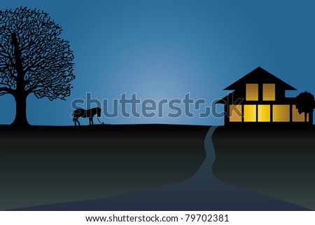 vector of silhouette of horse near the house - stock vector
