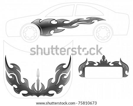 Vector of Silver car tattoo - stock vector