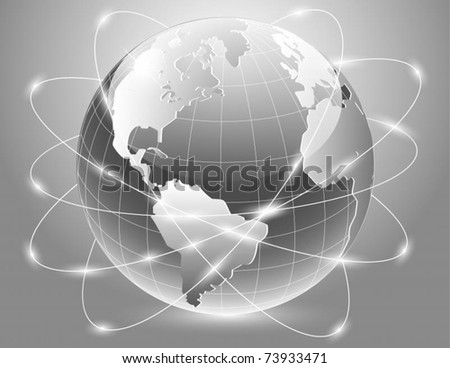 Vector of silver earth with satellite - stock vector