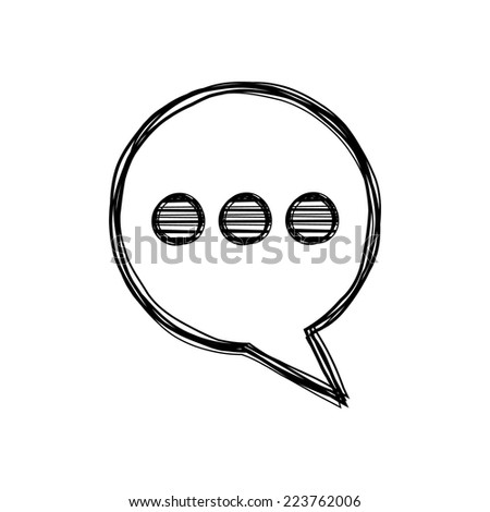 Vector of sketch doodle, speech bubble icon on isolated background - stock vector