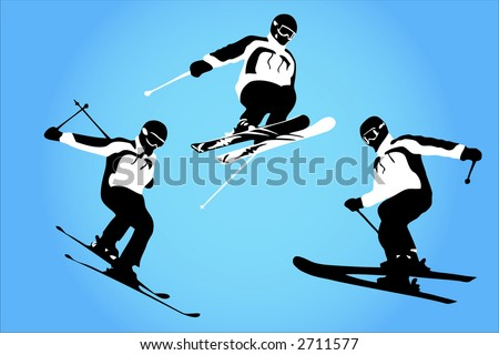 Vector of skiers in the air - stock vector
