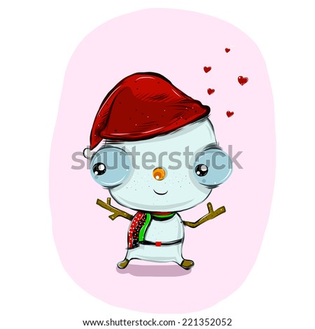 vector of snowy cartoon to christmas day