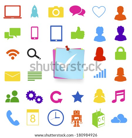 Vector of Social Media and Computer Icons