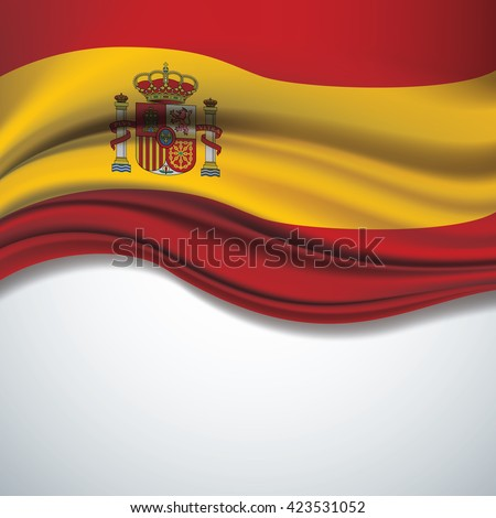 Vector of  Spain flag blowing in the wind on white background