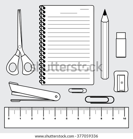 vector of stationery collection, office and school supplies,  - stock vector