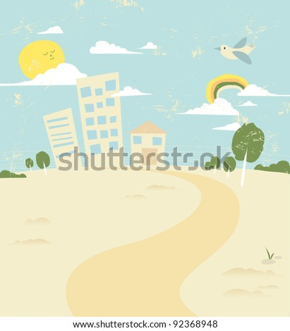 vector of stylish city and nature background