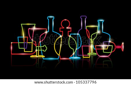 vector of stylized wine bottle and glass icons - stock vector