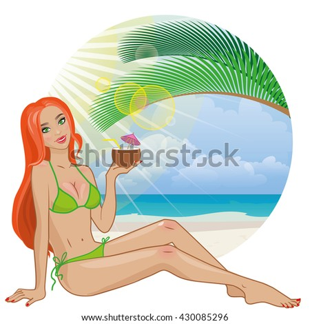 Vector of summer girl in sexy poses with place for your text . Red-haired young attractive woman in swimsuit holds coconut in her hand and smiles. Tropical beach with palm and ocean as background - stock vector