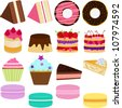 Vector of Sweet Cake, chiffon, donut, caramel custard pudding, Cupcake, Pie, Cheesecake and pastel Macaron. A set of cute and colorful icon collection isolated on white background - stock vector