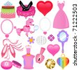Vector of Sweet Princess theme for diva in pink shade with diamond, shoes, accessories. A set of cute and colorful icon collection isolated on white background - stock vector