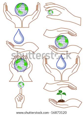 Vector of symbolic hands - stock vector