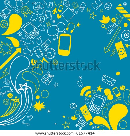 vector of telecommunication icons and elements