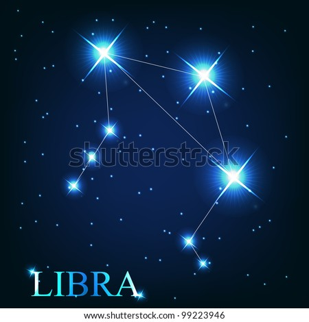 vector of the libra zodiac sign of the beautiful bright stars on the background of cosmic sky - stock vector