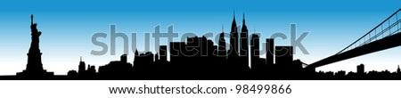 Vector of the New York skyline on blue sky - stock vector