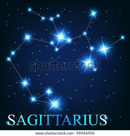 vector of the sagittarius zodiac sign of the beautiful bright stars on the background of cosmic sky - stock vector