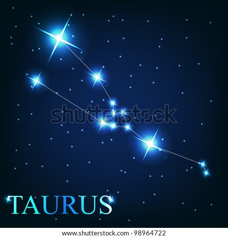 vector of the taurus zodiac sign of the beautiful bright stars on the background of cosmic sky - stock vector
