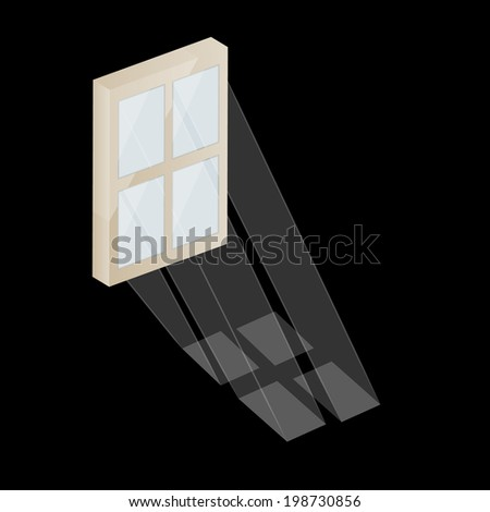 vector of the window and the sun rays on black background - stock vector