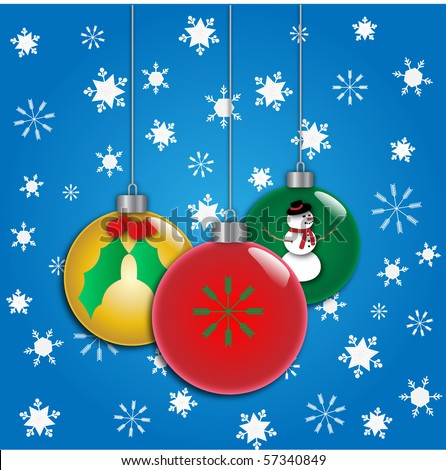 Vector of three christmas ornaments - stock vector