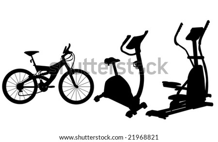 Vector of three type of  exercise cycles - stock vector