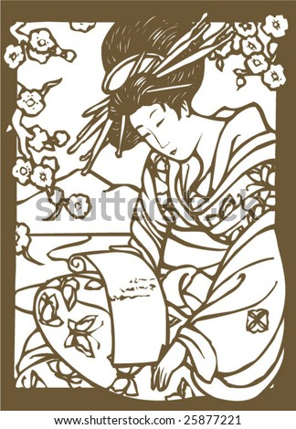 Vector of traditional Japanese Geisha pattern - stock vector