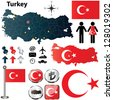 Vector of Turkey set with detailed country shape with region borders, flags and icons - stock photo