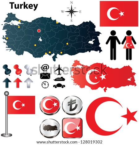 Vector of Turkey set with detailed country shape with region borders, flags and icons - stock vector