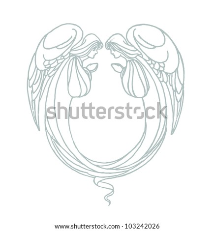 Vector of two angels with hands in prayer flying in side pose with wings and gowns - stock vector