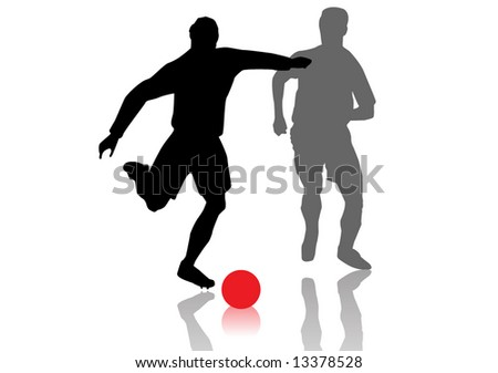 Vector of two soccer players competing for the ball - stock vector