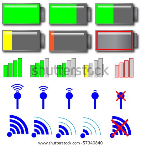 Vector of various indicator meters - stock vector