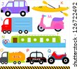 Vector of vehicle transportation Alphabet J - Q, jeep kayak, lorry, motorcycle, narrow boat, oil truck, police car, quad bike, simple dictionary for Kid. Set of colorful back to school icon collection - stock photo