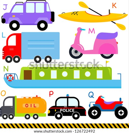 Vector of vehicle transportation Alphabet J - Q, jeep kayak, lorry, motorcycle, narrow boat, oil truck, police car, quad bike, simple dictionary for Kid. Set of colorful back to school icon collection - stock vector