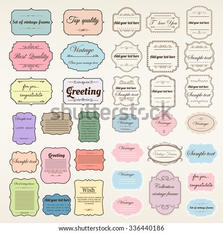 Vector of vintage frame set, blank retro badges and labels. Illustration eps10 elements design.  - stock vector