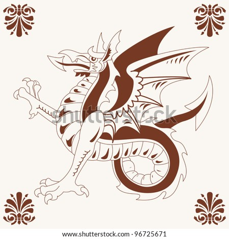 Vector of Vintage medieval dragon (Wyvern) drawing - stock vector